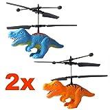 2x Fliegender Dinosaurier T-Rex Hubschrauber (Kombipack) mit hellen LED Licht-Einfach zu Steuern mit der Hand!Das Spielzeug für Jung und Alt!Der Megaspaß und Gag auf jeder Party als Geburtstagsgeschenk