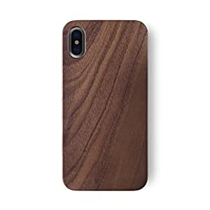 iATO iPhone X/XS Real Walnut Wood Case Wooden Premium Protective Hard Cover - Unique, Stylish & Classy Snap On Back Bumper Designed for iPhone X / 10 (2017) and XS (2018) | Supports Wireless Charging