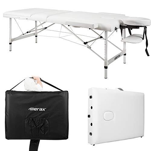 Massageliege mobil klappbar 3 Zonen, Deluxe Therapie Tatoo Salon Reiki Healingbehandlungsliege mit höhenverstellbare Aluminiumfüße inkl. Tragetasche (bis 250kg belastbar) Weiß