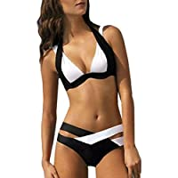 Keepwin Damen Elegant Weiß und Schwarz Bikini Set Halfter Neckholder Kreuzbandage Push-Up Zweiteilig Bademode Sommer Strandmode Badeanzug