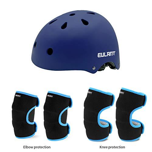 EULANT Helm Protektoren Set Für Kinder, Kinder Scooter Hoverboard BMX Bike Helm, Ellenbogenschützer, Knieschoner, Kinder Sport-Schutzausrüstung für Skate Fahrrad Radfahren Reiten Roller,Blau/Blau,M