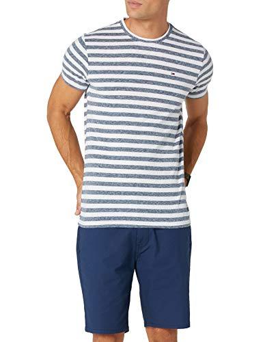 Tommy Jeans Herren Essential Stripe  Kurzarm  T-Shirt Blau (Black Iris 002) Large - Denim-gestreiftes T-shirt