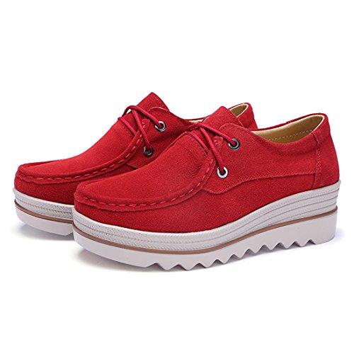 Fannulloni Pelle Comfort Delle Casuali Z Scamosciata Mocassini Calzature Rosso Donne suo 4A08x8