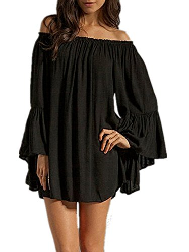 Minetom Donna Mini Abito Off Shoulder Manica Lunga Cocktail Party Club Sciolto Vestito Nero IT 38