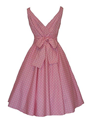 1950's Vintage Retro Style Pink Polka Dot Full Circle Cotton Dress (16)
