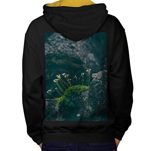 Berg Blume Natur Natur Schönheit Men M Kontrast Kapuzenpullover Zurück | Wellcoda (Berg Elch Mooses)