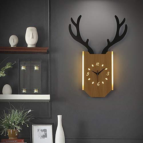 LANLAU Nordic Kreativität Wandleuchten mit Uhrfunktion Eisen Kunst Lampenschirm Log Geweih Wandleuchte Licht für Wohnzimmer Schlafzimmer Nacht Gang Hausdekoration Wandleuchte, stufenlose Dimmung (Nacht Gang)