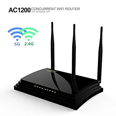 Wavlink AC1200 Wireless Gigabit Router Dual Band ( 5Ghz 867Mbps + 2.4GHz 300Mbps ) with 2 USB Ports and 3 External Antenna Support WPS