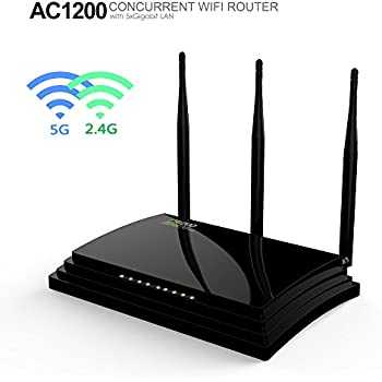Wavlink AC1200 Wireless Gigabit Router Dual Band ( 5Ghz 867Mbps + 2.4GHz 300Mbps ) with 2 USB Ports and 3 External Antenna Support WPS Encryption
