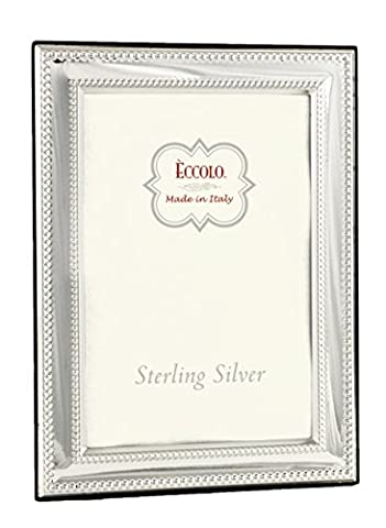 Eccolo Double Beaded Square Corners Sterling Frame, Silver, 5 x 7-Inch