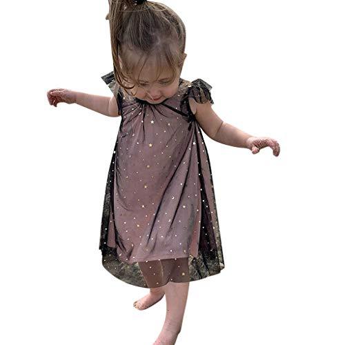 Zylione MäDchen Kleid Kinder Baby RüSchen Fliegenden ÄRmeln Double Mesh Gaze Kleider Prinzessin Rock -