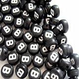 100pièces 6,5mm B Rond Plat Noir, des perles de lettre de l'alphabet–Kb0611