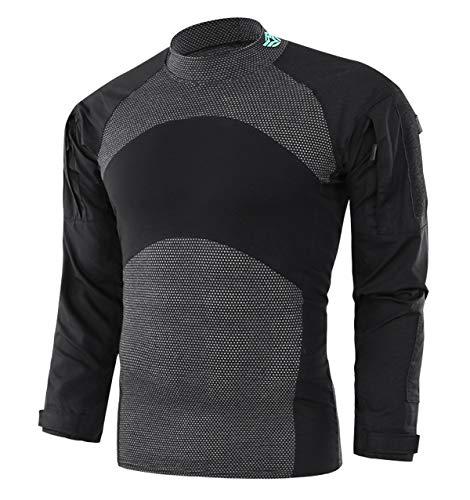 KEFITEVD Herren Tactical Combat Shirt US Military Shirt mit Ärmeltaschen Camouflage Shirt Ripstop Klettfläche Kampfshirt Outdoor Langarm Shirt Schwarz XL (Etikett: 3XL) -