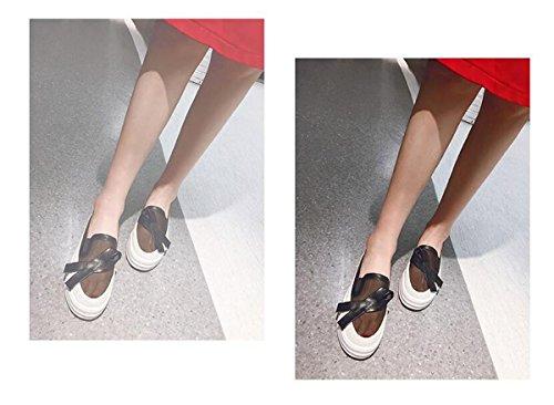 Beauqueen Organza Casual Platform Femme OL Pompes Organza Hollow Respirant Supérieur Antidérapant Outsoles Casual Vintage Shoes EU Taille 32-43 Black