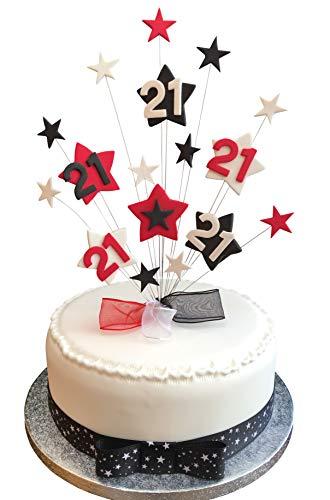 Pleasing 21St Birthday Cake Topper Red Black And White Stars Plus 1 X Funny Birthday Cards Online Bapapcheapnameinfo