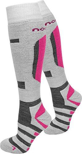 normani 2 Paar Allround Skisocken Ski-Kniestrümpfe, speziell gepolstert Farbe RIPP/Weiß/Pink Größe 39/42