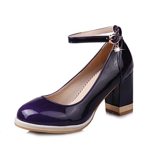 VogueZone009 Donna Tacco Medio Pelle di Maiale Puro Fibbia Punta Tonda Ballerine Viola scuro