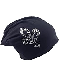 Jersey Slouch Beanie Long Mütze mit Motiv Krone Unisex Unifarbe Herren Damen Trend