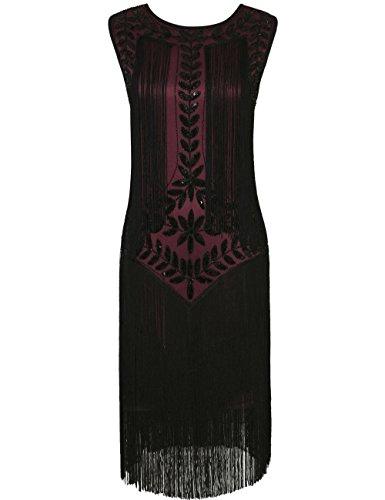 PrettyGuide Damen 1920er Vintage Paillette Alle Fransen Inspired Flapper Kleider S (Fransen Flapper Rote Kleid)