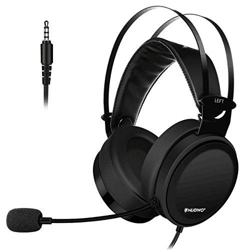 NUBWO Cuffie Headset Gaming Cuffia 3.5mm Canale Stereo Cancellazione di Rumore Auricolare da Gioco Over-Ear con Microfono Flessibile, Switch di Controllo Volume