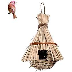 Sarplle Nid d'oiseau de Paille Fait à la Main Herbe Naturelle nid d'oiseau nid d'herbe Naturelle tissée pour Balcon, Jardin, Bureaux, hôtels