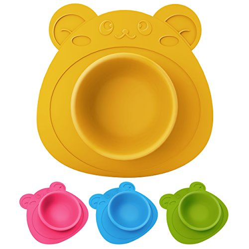 Schale für Babys und Kinder, Teller rutschfest und umkippsicher, Teddybär gelb
