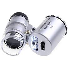 SODIAL(R) 60X Lupa de Bolsillo Lupa del Microscopio LED Moneda UV Plata