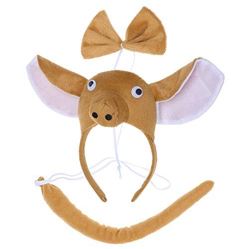 BESTOYARD Kinder Kostüme Schwein Kopf Stirnband mit Ohren Tier Schwanz Fliege für Cosplay Halloween Party Favors 3 Stück (Braun)