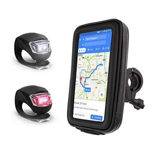 elinch® Fahrrad Handyhalterung - Wasserfest Fahrradhalterung mit Werkzeug für die Montage - Inklusive Mini LED´s in weiß & rot - Smartphone Halter fürs Fahrrad - Handyhalter | Lenkertasche 4-6,4 Zoll