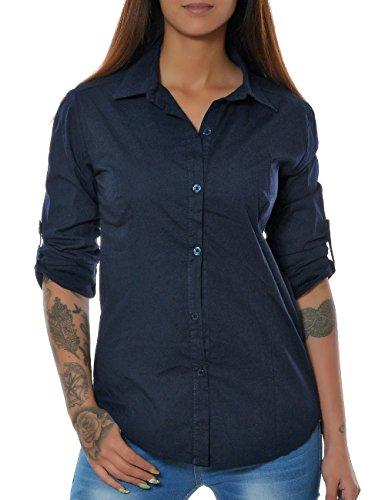 Damen elegante figurbetonte Bluse Business Hemd tailliert Oberteil 3/4 Ärmel langarm No 15646 Navy