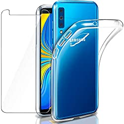 """Coque Galaxy A7 2018 Transparente + Verre trempé écran Protecteur, Leathlux Souple Silicone Étui Protection Bumper Housse Clair Doux TPU Gel Case Cover pour Samsung Galaxy A7 (2018) 6.0"""""""