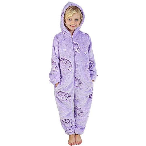 Tuta intera tutina pigiama per bambina bambino coniglio pinguino dinosauro unicorno cane gatto koala 2-14 anni completo per neonato bambino bambina adolescente (9-10 anni, viola brilla al buio)