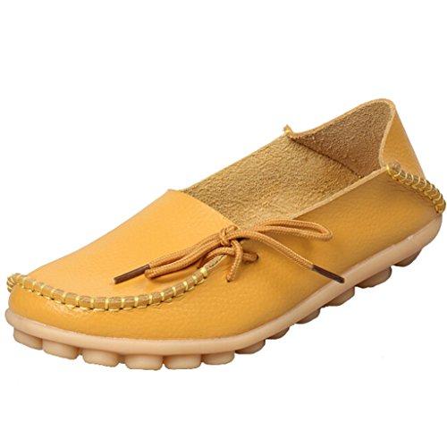 SIMPVALE Damen Mokassin Leder Loafers Fahren Schuhe Comfort Freizeit Flache Schuhe Gelb