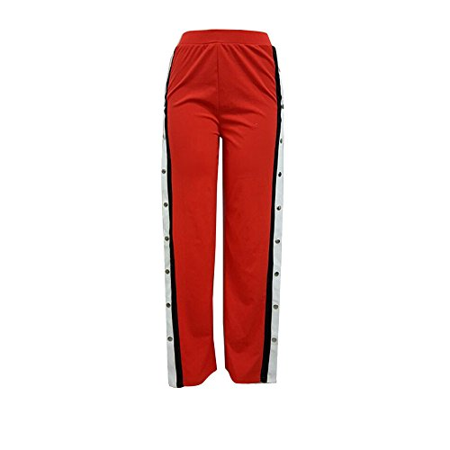 TWIFER Damen Knöpfe Hohe Taille Elegante Lange Hosen Bleistift Hose (S-5XL) (L, Rot)