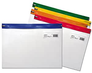 Snopake A4 Plus 370 x 260 mm Zippa Bag S with Zip Strips - Transparent/Assorted, Pack of 5