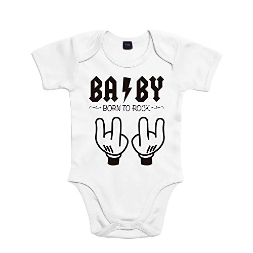 SUPERMOLON Body bebé algodón Baby Born to rock 3 meses Blanco Manga corta