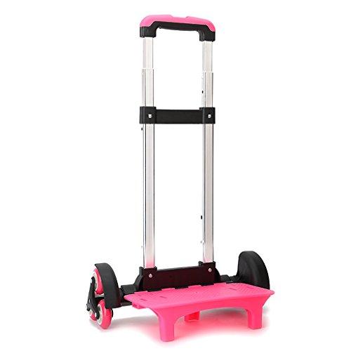 comprare popolare 2b369 3b907 Carrello per zaino di scuola - Carrello con ruote Carrello in alluminio per  carrello rotelle Lega di alluminio (Rosa,6 ruote)