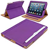 SALE! Iverson® iPad 4 leather wallet cover case compatible with iPad 2 and iPad 3 (PURPLE)