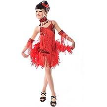 XFentech Vestidos De Danza Latina con Lentejuela Pluma Niñas Traje De Baile 79ab1f70095