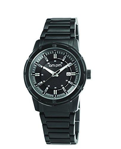 AM:PM Unisex-Armbanduhr PG119-U098 Schwarz IP Stahl Gehäuses Und Armband Quartz