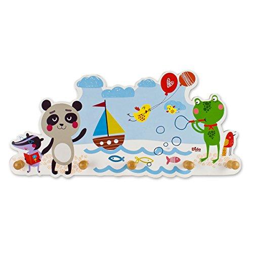 Dida - attaccapanni da parete in legno per arredare la camera dei bimbi con allegri animaletti al mare