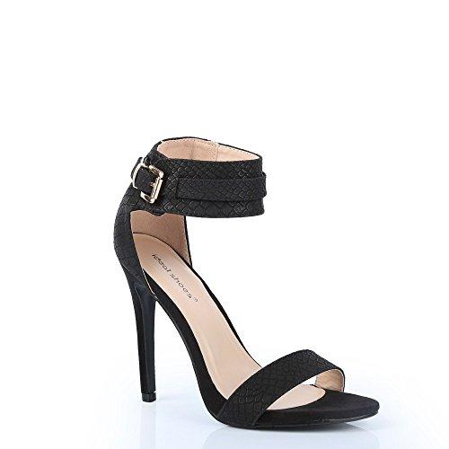 Ideal Shoes 3D-Drucke Milana Reptilien Schwarz - Schwarz