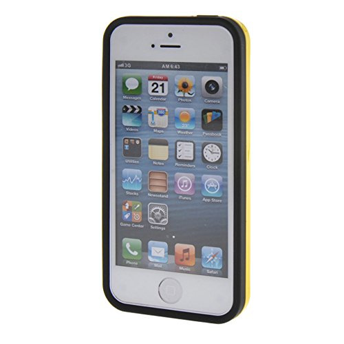 MOONCASE pour Apple iPhone 5G / 5S Case Coque Silicone Gel TPU Etui Housse Case Cover Rouge Jaune #0201