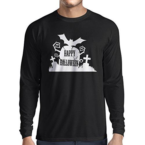 Langarm Herren t Shirts Halloween-Friedhof - Kostüm-Ideen - Coole Kleidung Horror-Design - All Hallows 'Abend (X-Large Schwarz Mehrfarben)