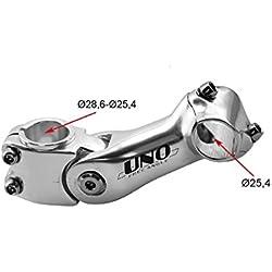 Potencia A head Ahead Aluminio y Acero Regulable Color Plata Estandar 25.4 a 28.6 mm Bicicleta 3212plata