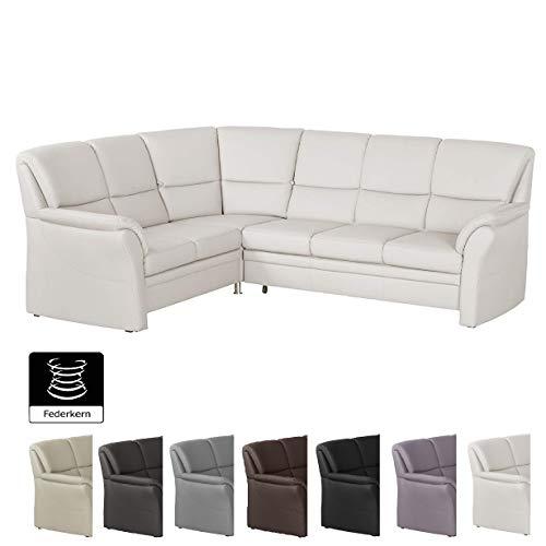 Cavadore Ecksofa Klariza mit Ottomane links / Großes L-Form Sofa in Lederoptik und modernem Design / 264 x 102 x 214 / Federkern / Kunstleder weiß