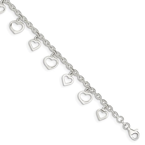 IceCarats Designer Jewellery Sterling Silver 9 Polished Heart Anklet In 9.00 Inch