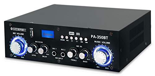 McGrey PA-350BT Bluetooth-Endstufe - mit USB/MP3-Player 200 Watt Leistung - zwei Mikrofoneingänge für Karaokefunktion - USB-Port und Cinch-Eingang - ideal für Partykeller und Karaoke Partys