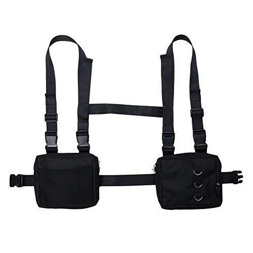 Leezo Männer Frauen Mode Brust Fronttasche Hip Hop Streetwear Funktionale Taille Packs Tasche Einstellbare Taktische Umhängetaschen Chest Rig Bag -