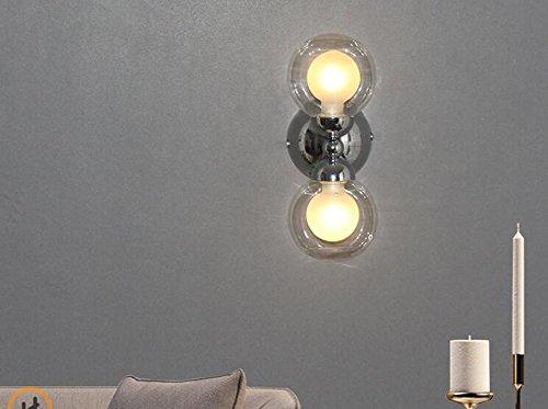 Kreative Doppel-Kopf Glas Wand Lampe Mode Wohnzimmer Led Persönlichkeit Schlafzimmer Bedside Aisle Wand Lampe ( Farbe : Warmes Licht ) -
